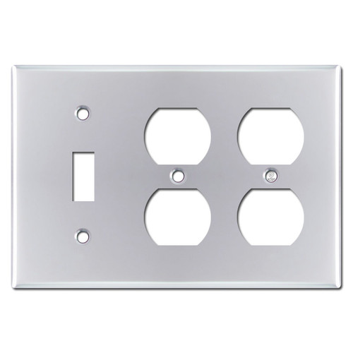 1 Toggle 2 Receptacle Switch Plate - Polished Chrome