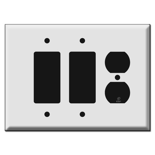 Oversized 2 Decora and 1 Duplex Outlet Cover Switch Plates