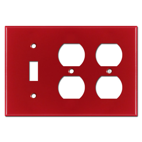 2 Receptacle 1 Toggle Light Switch Cover - Red