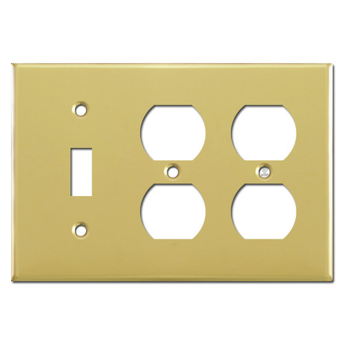 Single Toggle/Double Duplex Switch Plates - Polished Brass