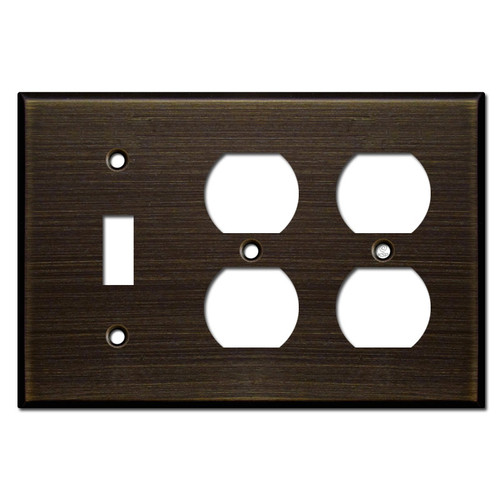 Double Outlet Single Toggle Light Switchplates - Oil Rubbed Bronze