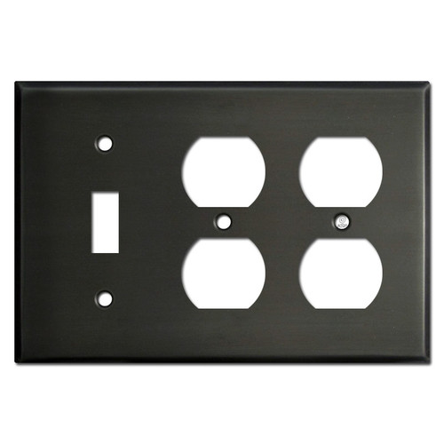 One Toggle Two Outlet Switch Plate Covers - Dark Bronze