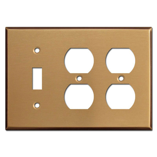 One Toggle Two Duplex Cover Plates - Satin Bronze