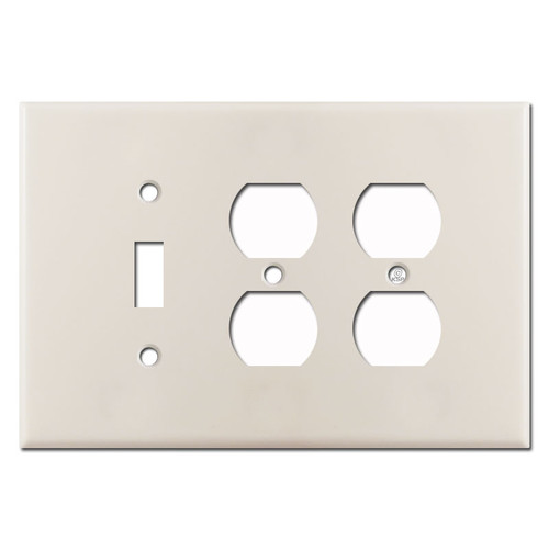 Oversized 1 Toggle 2 Outlet Wall Plates - Light Almond
