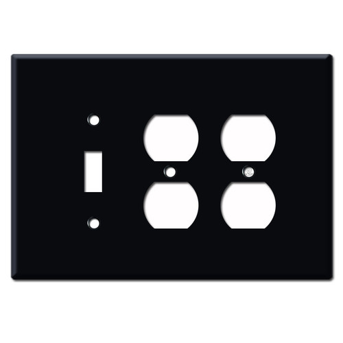 Jumbo 2 Duplex 1 Toggle Switch Plate - Black