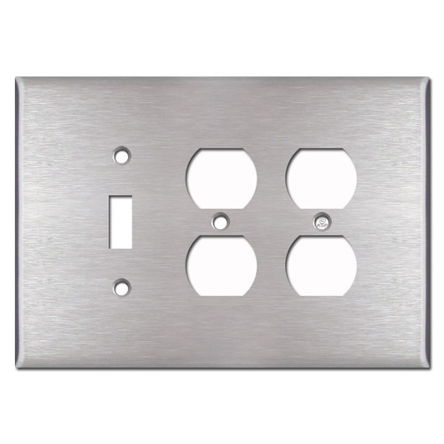 Oversized 2 Outlet 1 Toggle Wall Plates - Satin Stainless Steel