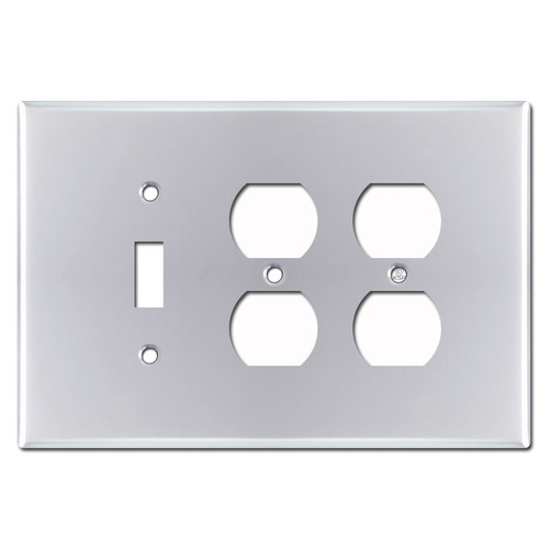 Oversized 2 Receptacle 1 Toggle Switch Plates - Polished Chrome