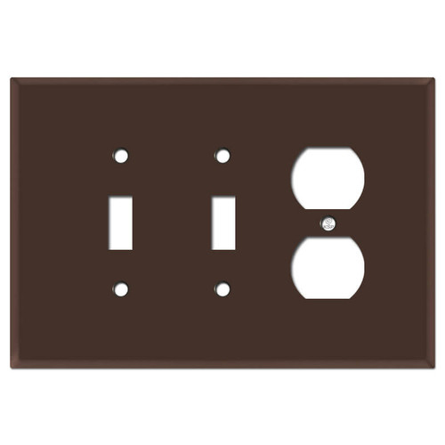 Oversized Double Toggle Single Receptacle Wall Plate - Brown