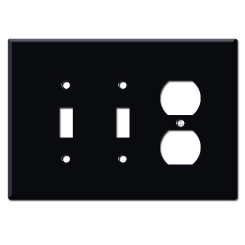 Jumbo Double Toggle Single Outlet Switch Plate - Black