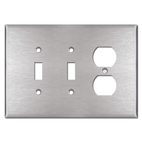 Oversized Double Toggle Single Duplex Cover Plate - Satin Stainless Steel