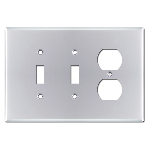 Oversized 1 Outlet 2 Toggle Switch Plate - Polished Chrome