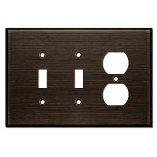 Jumbo Single Outlet Double Toggle Switch Plate - Oil Rubbed Bronze