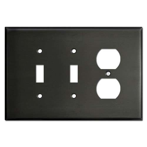 Oversized Single Duplex Double Toggle Wall Plate - Dark Bronze