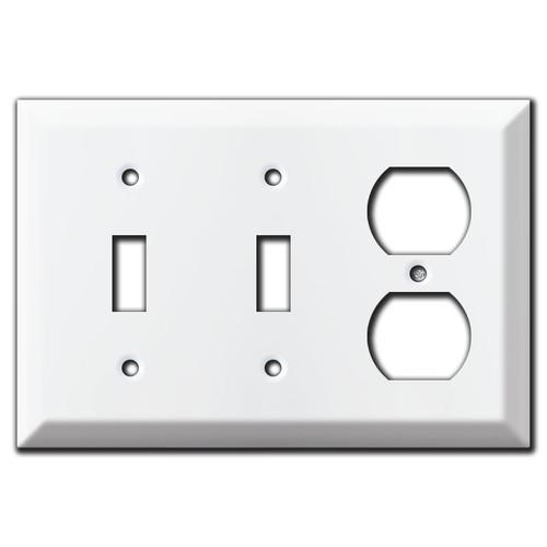 Raised 2 Toggle 1 Duplex Wall Plate - White