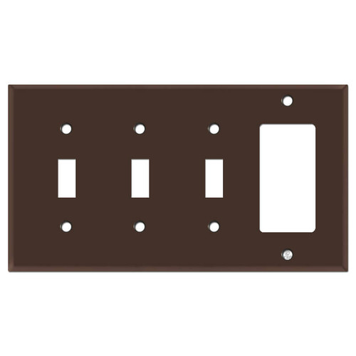 Triple Toggle Rocker Switch Plate - Brown