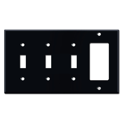 Triple Toggle-Decora Rocker Switch Plates - Black