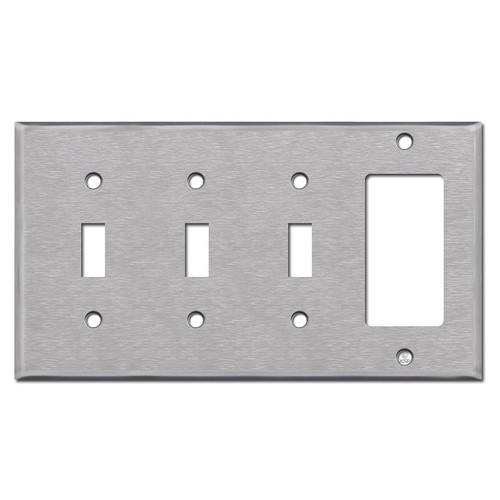 3 Toggle / 1 Rocker Switch Plate - Spec Grade Stainless Steel