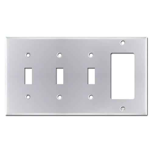 4 Gang 3 Toggle 1 Rocker Switch Plate - Polished Chrome