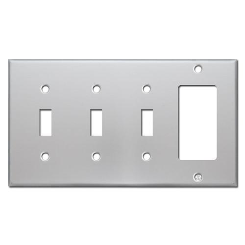 Wall Plate 3 Toggle 1 Rocker - Brushed Aluminum