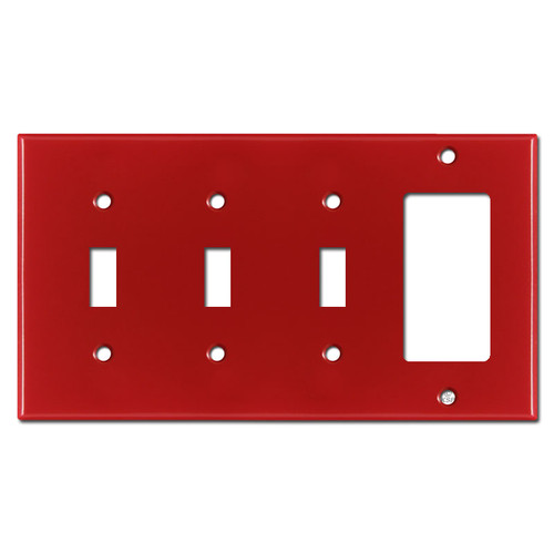 1 Rocker 3 Toggle Switch Plate - Red