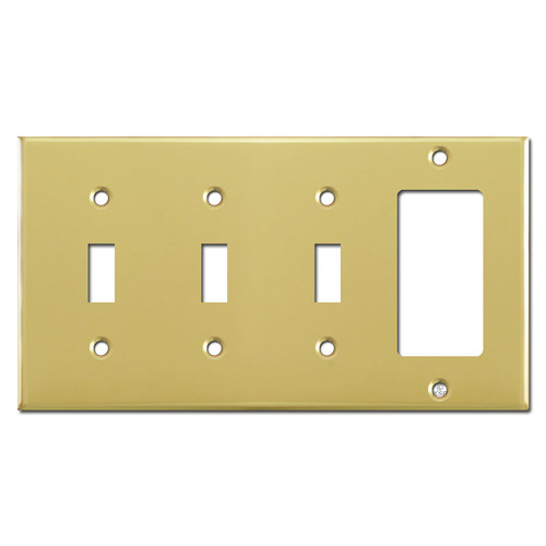 1 Rocker 3 Toggle Wall Plate - Polished Brass