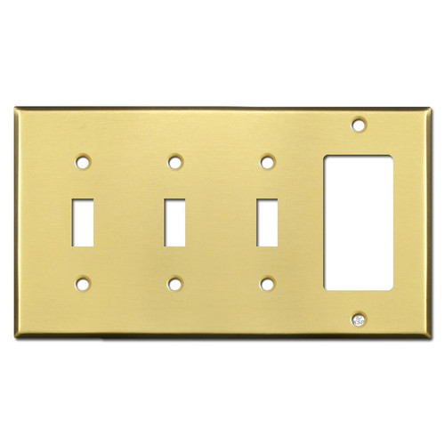 3 Toggle 1 Decora Switch Plate - Satin Brass