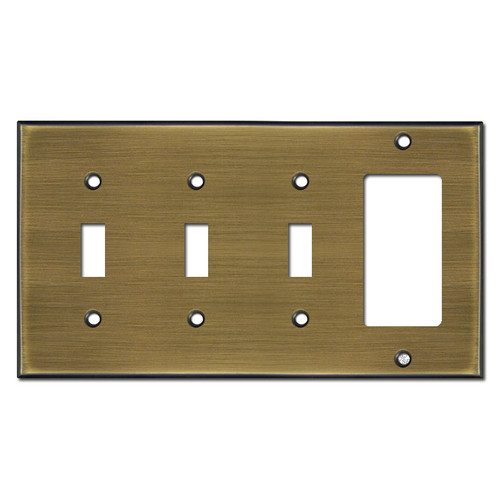 1 Decora 3 Toggle Wall Plate - Antique Brass