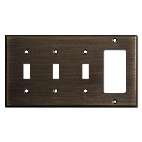 1 Rocker 3 Toggle Switch Plate - Oil Rubbed Bronze