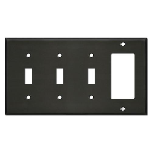 Single Rocker Triple Toggle Switch Plates - Dark Bronze