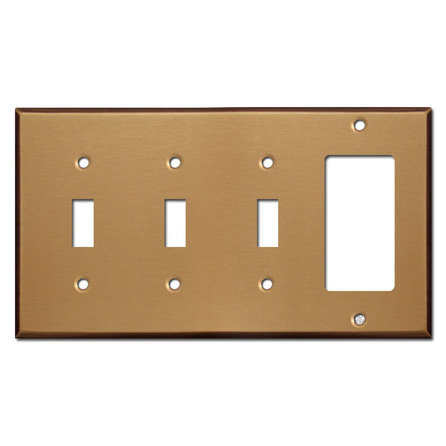Three Toggle One Rocker Switch Plate Covers - Satin Bronze