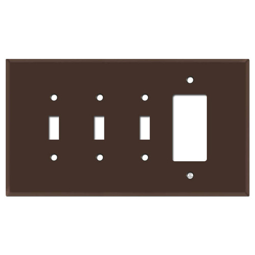 Jumbo Triple Toggle 1 Decora Switch Plate - Brown