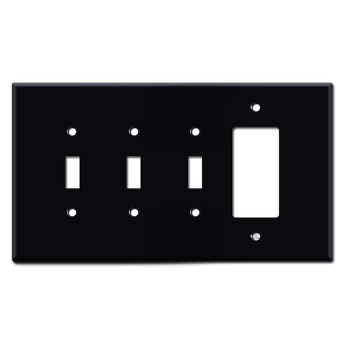 Oversized Triple Toggle 1 GFCI Wall Plates - Black