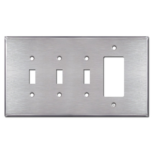 Jumbo Three Toggle One Rocker Switch Plate - Satin Stainless Steel