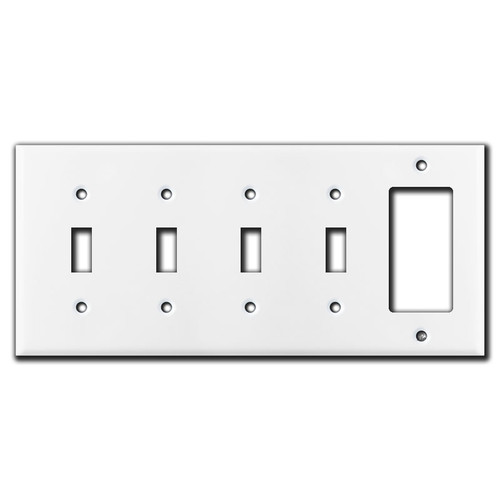 4 Toggle 1 Rocker Wall Plates - White