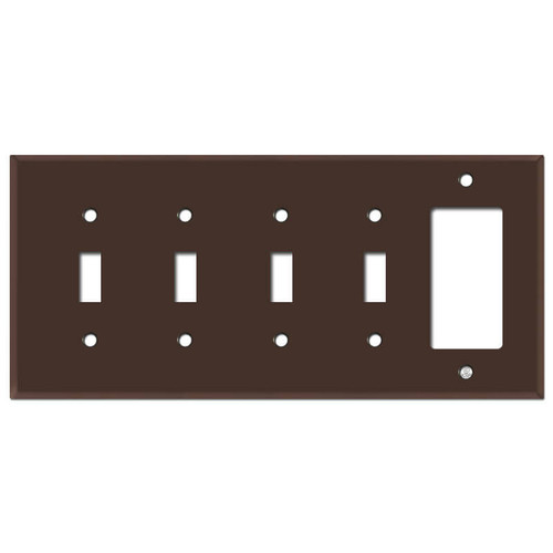 Four Toggle One Rocker Wall Plates - Brown