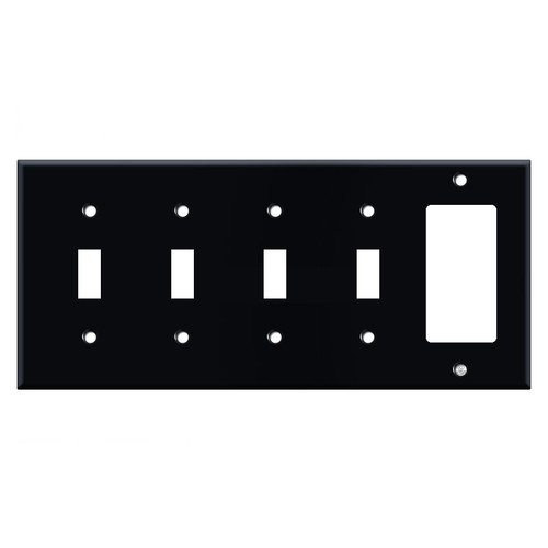 4 Toggle 1 GFCI Cover Plates - Black