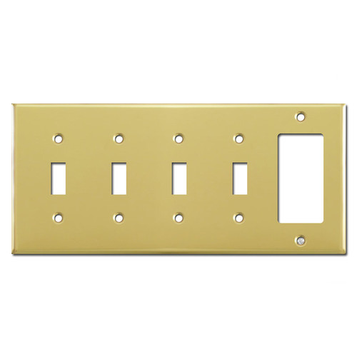 1 GFCI 4 Toggle Light Switch Cover - Polished Brass