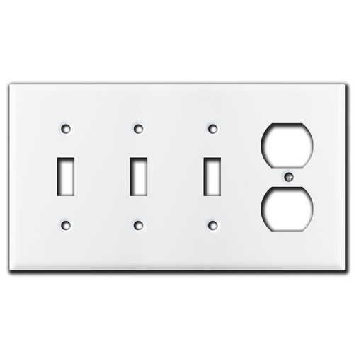 3 Toggle & 1 Duplex Wall Plate - White