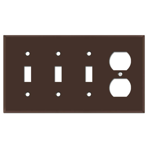 Triple Toggle Outlet Switch Plate - Brown