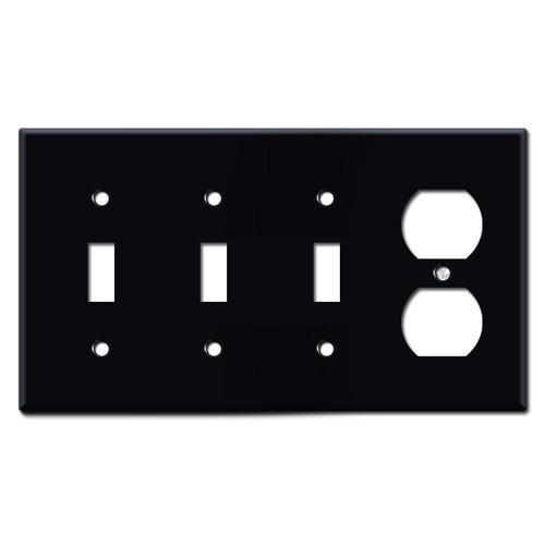 Triple Toggle Single Duplex Wall Plates - Black