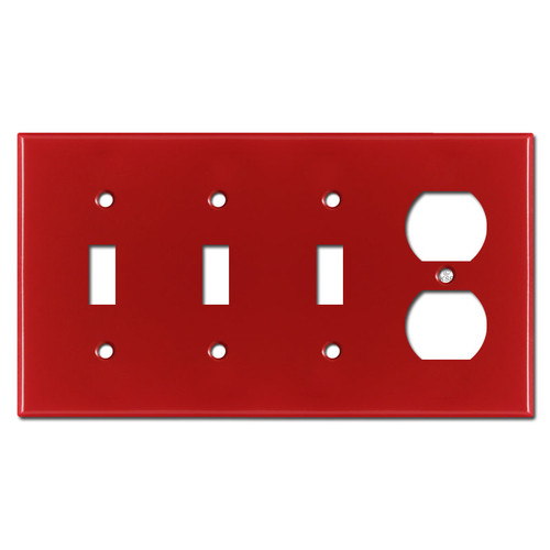 1 Duplex 3 Toggle Cover Plates - Red