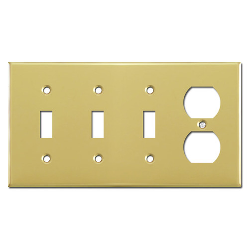 1 Receptacle 3 Toggle Switch Plate - Polished Brass