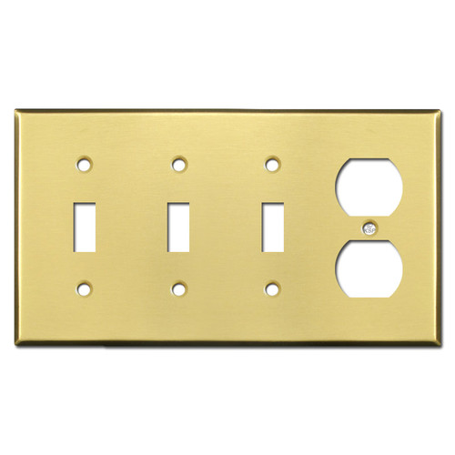 Single Duplex Outlet Triple Toggle Switch Plates - Satin Brass