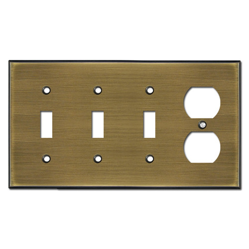 Single Outlet Triple Toggle Wall Plates - Antique Brass