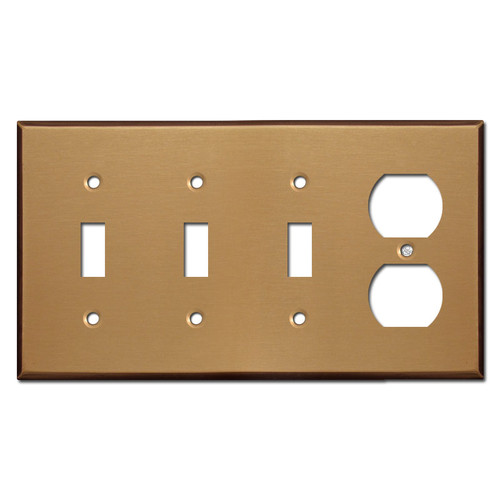 One Duplex Three Toggle Wall Plates - Satin Bronze