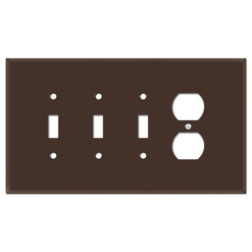 Oversized 3 Toggle 1 Outlet Cover Plates - Brown