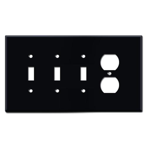 Jumbo Three Toggle One Receptacle Switch Plates - Black