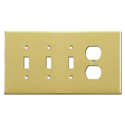 Oversized Triple Toggle Single Duplex Cover Plates - Polished Brass