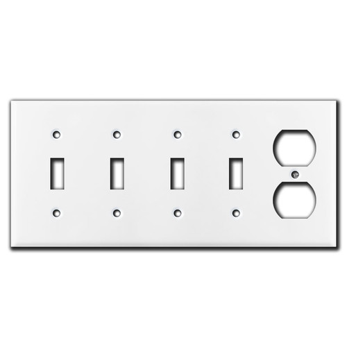 Quadruple Toggle - 1 Receptacle Switchplates - Light Almond