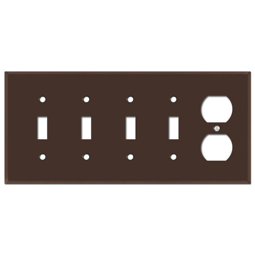 4 Toggle & 1 Duplex Receptacle Cover Plates - Brown